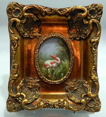 Miniature BEAUTIFULLY FRAMED BUNNY RABBIT Oil Painting ON BOARD ART WORK UNSignE