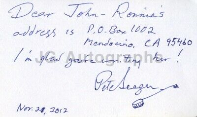 Pete Seeger - Classic Folk Singer - Authentic Autograph on Card