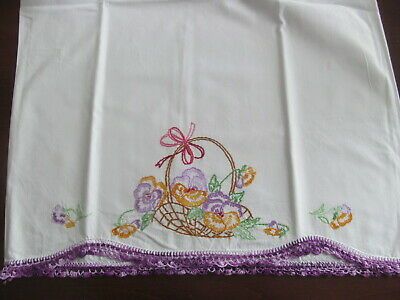 Pair~Basket Pansy Flowers Vintage White Cotton Pillowcases~Crocheted~Embroidered