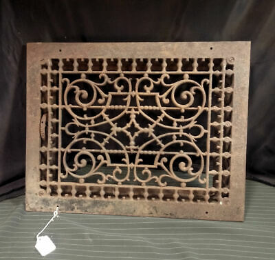 "Antique Cast Iron Floor Wall Heat Grate Elaborate Symmetrical Pattern 18"" x 14"""