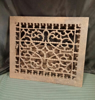 "Antique Cast Iron Floor Wall Heat Grate Elaborate Symmetrical Pattern 14"" x 12"""