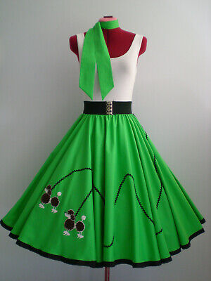 "ROCK N ROLL/ROCKABILLY  ""POODLE"" SKIRT-SCARF M-L Emerald green."