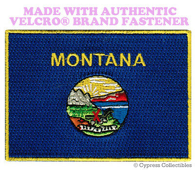 MONTANA STATE FLAG PATCH EMBROIDERED SYMBOL APPLIQUE w/ VELCRO® Brand Fastener