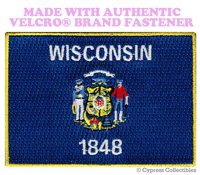 WISCONSIN STATE FLAG PATCH EMBROIDERED SYMBOL APPLIQUE w/ VELCRO® Brand Fastener