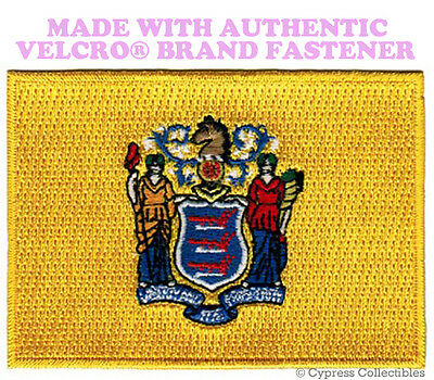 NEW JERSEY STATE FLAG PATCH NJ EMBROIDERED APPLIQUE w/ VELCRO® Brand Fastener