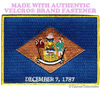 DELWARE STATE FLAG PATCH EMBROIDERED SYMBOL APPLIQUE w/ VELCRO® Brand Fastener