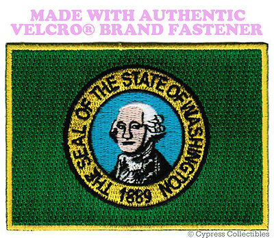 WASHINGTON STATE FLAG PATCH EMBROIDERED new APPLIQUE w/ VELCRO® Brand Fastener