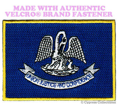 LOUISIANA STATE FLAG PATCH EMBROIDERED SYMBOL APPLIQUE w/ VELCRO® Brand Fastener