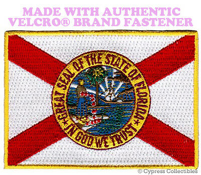 FLORIDA STATE FLAG PATCH EMBROIDERED SYMBOL APPLIQUE w/ VELCRO® Brand Fastener