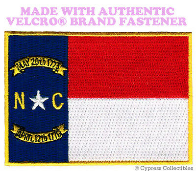 NORTH CAROLINA STATE FLAG PATCH EMBROIDERED APPLIQUE w/ VELCRO® Brand Fastener
