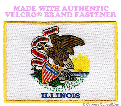 ILLINOIS STATE FLAG PATCH EMBROIDERED SYMBOL APPLIQUE w/ VELCRO® Brand Fastener