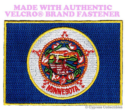 MNINNESOTA STATE FLAG PATCH EMBROIDERED new APPLIQUE w/ VELCRO® Brand Fastener