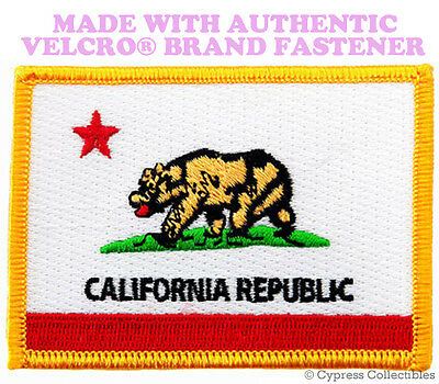 CALIFORNIA STATE FLAG PATCH EMBROIDERED CA APPLIQUE w/ VELCRO® Brand Fastener