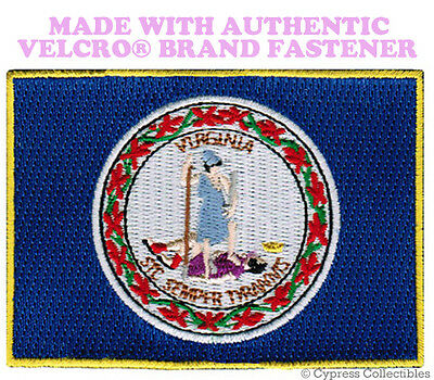 VIRGINIA STATE FLAG PATCH EMBROIDERED SYMBOL APPLIQUE w/ VELCRO® Brand Fastener