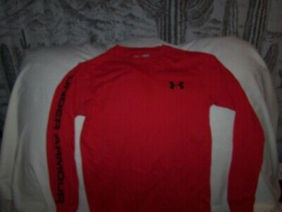 Boys Under Armour Red Long Sleeve Shirt Small  LOOSE FIT