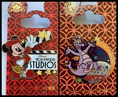 Disney 2 Pin Lot Hollywood Studios Clapper (motion) + Epcot Figment - ride red