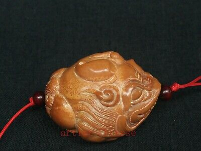 Rare Collection Old Chinese Hand Carving Olivary Jin Chan Statue Pendant Netsuke