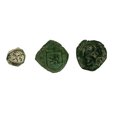 3 copper Spanish colonial pirate cob treasure coins good detail 1500's-1700's