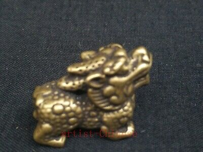Collection Old art China Copper Carving Propitious Kylin Statue Pendant Netsuke