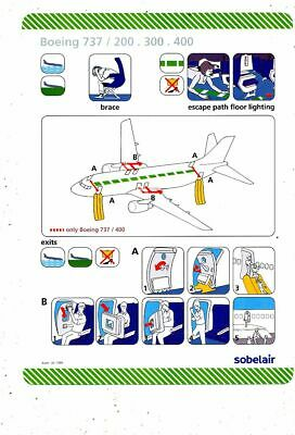 Cpa Pk Ak  Aviation Compagnie Sobelair Safety On Board  Boeing 737/200-300-400