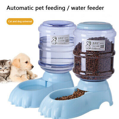 3.8L Large Automatic Pet Food Drinking Dispenser Feeder Dog Cat Water Bowl