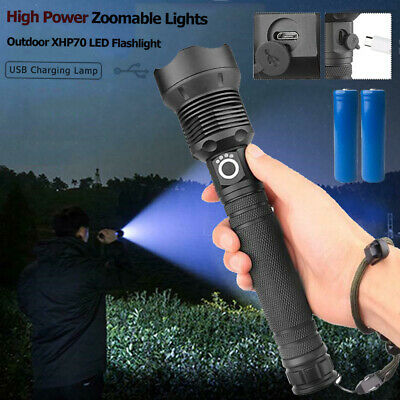 200000LM XHP70 LED USB 18650 Zoomable Torch Flashlight Super Bright Rechargeable