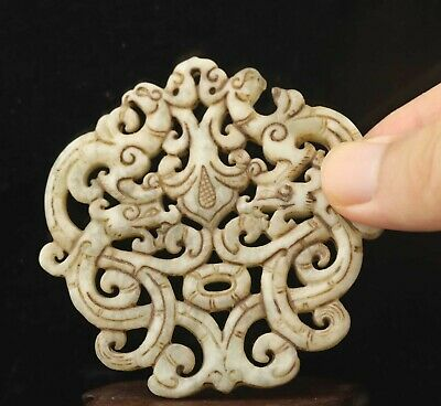 Chinese old natural jade hand-carved statue double dragon pendant 2.7 inch