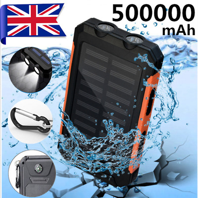 Waterproof 500000mah Power Bank 2USB Solar Pack Travel Battery Charger for Phone