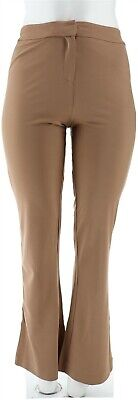 Shape FX Fly Front Ponte Knit Bootcut Pants Taupe 16 NEW A272118