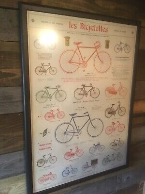 Framed Les Bicyclettes Poster Bicycles Vintage