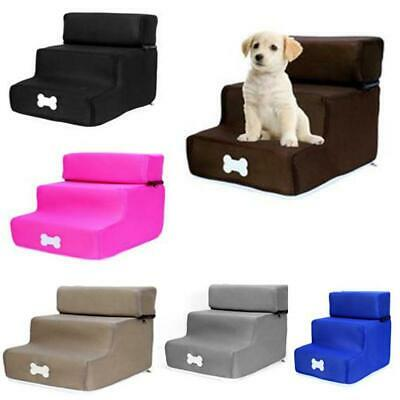 3 Steps Portable Dog Puppy Ladder Doggy Pet Soft Stairs Sponge &Washable Cover