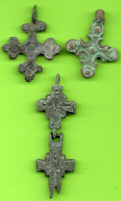 Lot 3 Ancient Viking Enamel Bronze Cross Kiev Russia Ukraine 1100 Byzantine 10