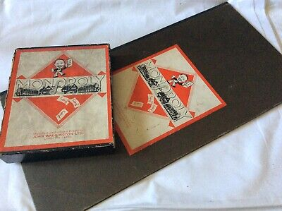 Vintage Monopoly boxed game set complete 1940s ? Card tokens Pat No 3796-36