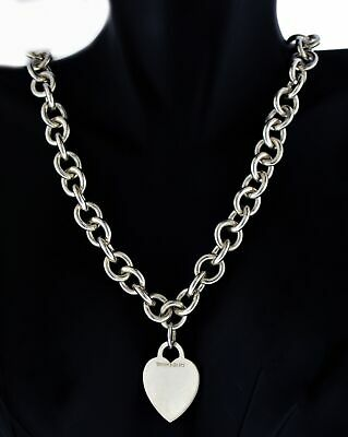 """Tiffany & Co 925 Sterling Silver Heart Tag Charm Chain Link Choker Necklace 16"""""""