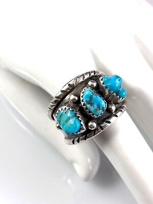 Sterling Silver Navajo Old Pawn Turquoise 3 Stone Southwestern Decorated Ring