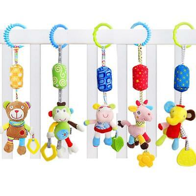 Baby Infant Rattle Plush Animal Stroller Hanging Bells Play Toy Doll Soft Bed W