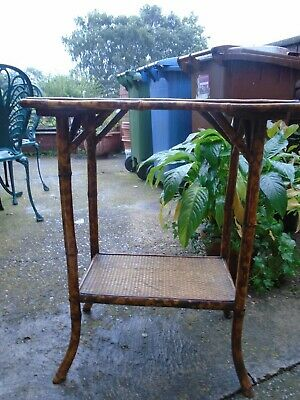 1900-20 Victorian/Edwardian Antique Bamboo Two Tier Occasional Table Plant Stand