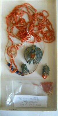 Antique Chinese Necklace With Kingfisher Feathers & Coral Beads In Pieces