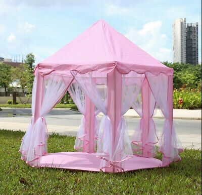 Portable Play Tent Kid Girl Princess Castle Fairy Netting Castle House Pink New