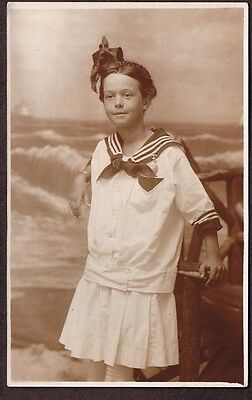 RPPC YOUNG GIRL IN SAILOR OUTFIT 1904 1918 POSTCARD Ocean City NJ