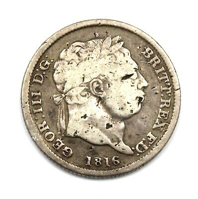 Antique 1816 King GEORGE III .925 SILVER Shilling Coin - H20