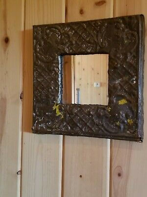 "Vintage Early 1900's 11""x 11"" Ceiling Tile Antique w/ Mirror.  Dark!!"