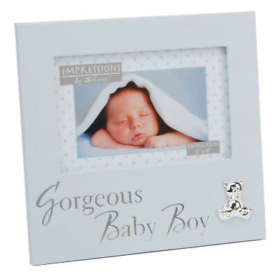 New Baby 6'x4' Photo Frame with Silver Teddy Attachment - Gorgeous baby Boy