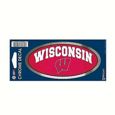 """Wisconsin Badgers NCAA 3"""" x 7"""" Chrome Decal / Sticker *Free Shipping"""