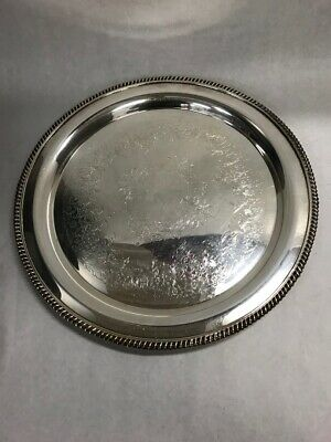 15 in. Round Silver plate WILCOX International Ashley 7072 platter Vintage etch
