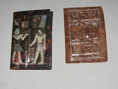 2 Egyptian Camel ? Leather Wallets Vintage Gold Embossed Hieroglyphics