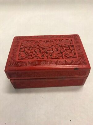 2 pc Vintage Chinese Cinnabar Lacquer trinket box greek key flowers carved red