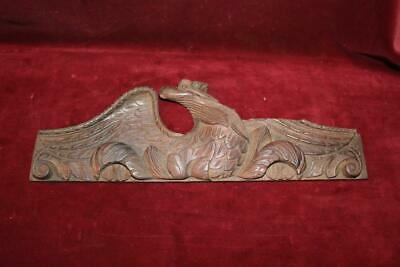 Wonderful Mid 19th Century Hand Carved Walnut American Eagle Crest Wall Plaque