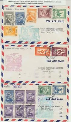 PORTUGAL & COLONIES 1941 MATCHED SET(9) PAN AM 1st FLIGHT COVERS, FAM18-20-23b