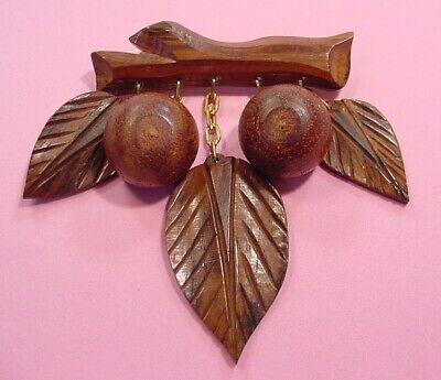 Vintage 1940s Carved Wood Leaves and Nuts Dangling from a Branch Pin / Brooch